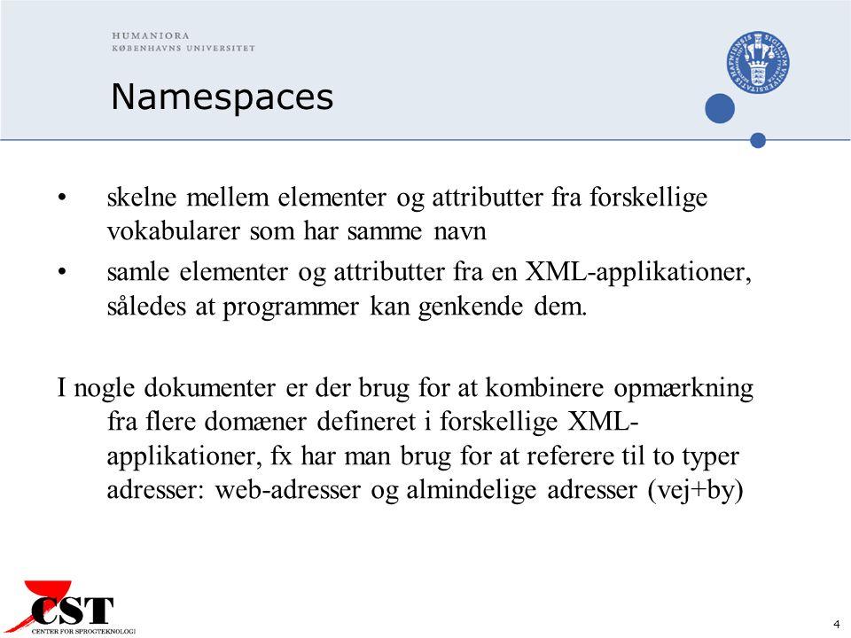4 Namespaces skelne mellem elementer og attributter fra forskellige vokabularer som har samme navn samle elementer og attributter fra en XML-applikationer, således at programmer kan genkende dem.