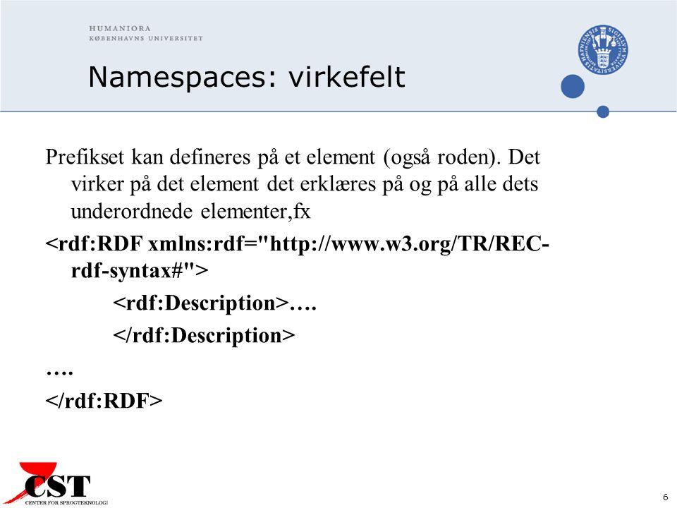 6 Namespaces: virkefelt Prefikset kan defineres på et element (også roden).