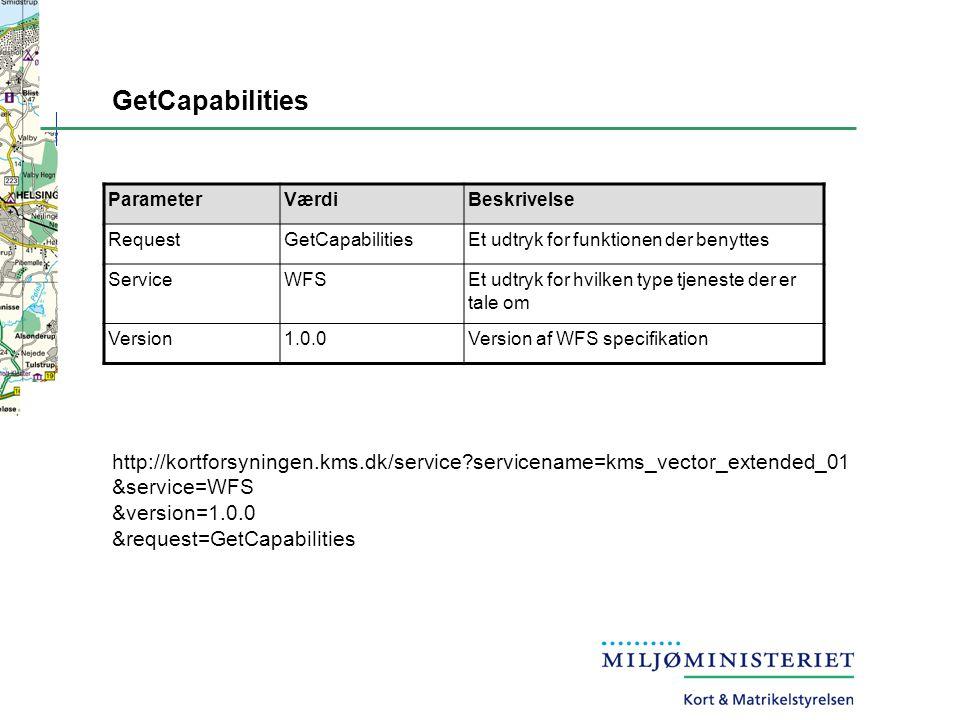 GetCapabilities ParameterVærdiBeskrivelse RequestGetCapabilitiesEt udtryk for funktionen der benyttes ServiceWFSEt udtryk for hvilken type tjeneste der er tale om Version1.0.0Version af WFS specifikation http://kortforsyningen.kms.dk/service servicename=kms_vector_extended_01 &service=WFS &version=1.0.0 &request=GetCapabilities