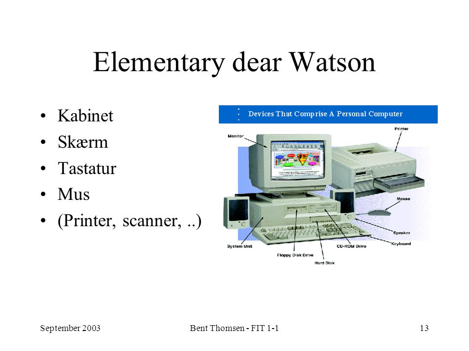 September 2003Bent Thomsen - FIT 1-113 Elementary dear Watson Kabinet Skærm Tastatur Mus (Printer, scanner,..)