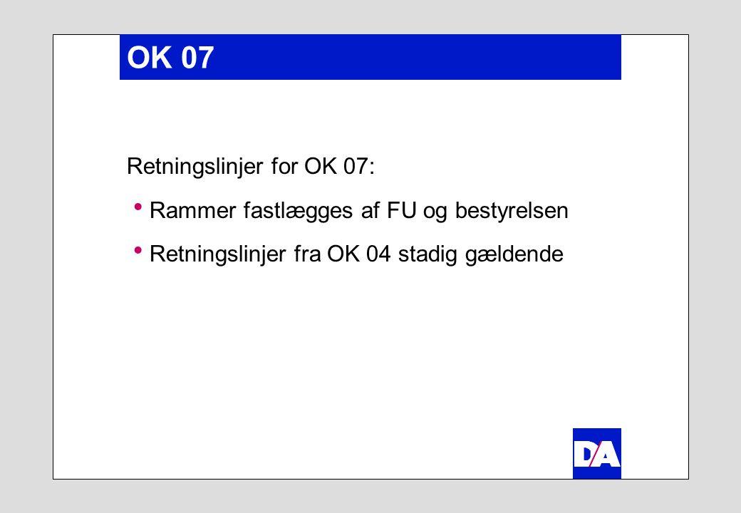 OK 07 Retningslinjer for OK 07:  Rammer fastlægges af FU og bestyrelsen  Retningslinjer fra OK 04 stadig gældende