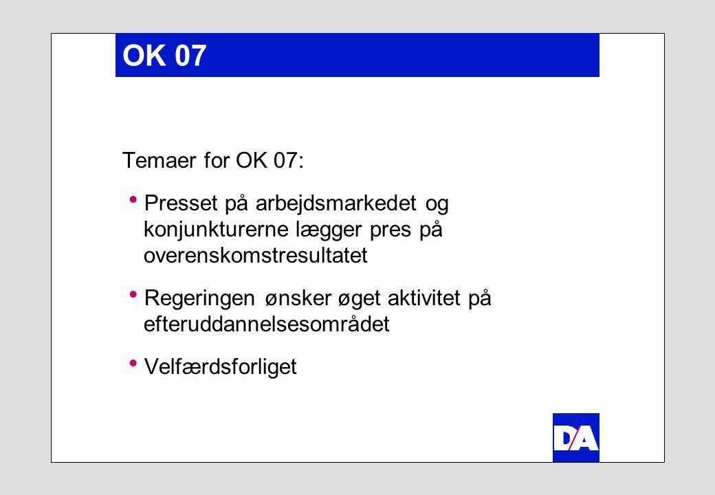 OK 07 Temaer for OK 07:  Presset på arbejdsmarkedet og konjunkturerne lægger pres på overenskomstresultatet  Regeringen ønsker øget aktivitet på efteruddannelsesområdet  Velfærdsforliget