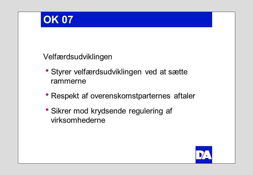 OK 07 Velfærdsudviklingen  Styrer velfærdsudviklingen ved at sætte rammerne  Respekt af overenskomstparternes aftaler  Sikrer mod krydsende regulering af virksomhederne