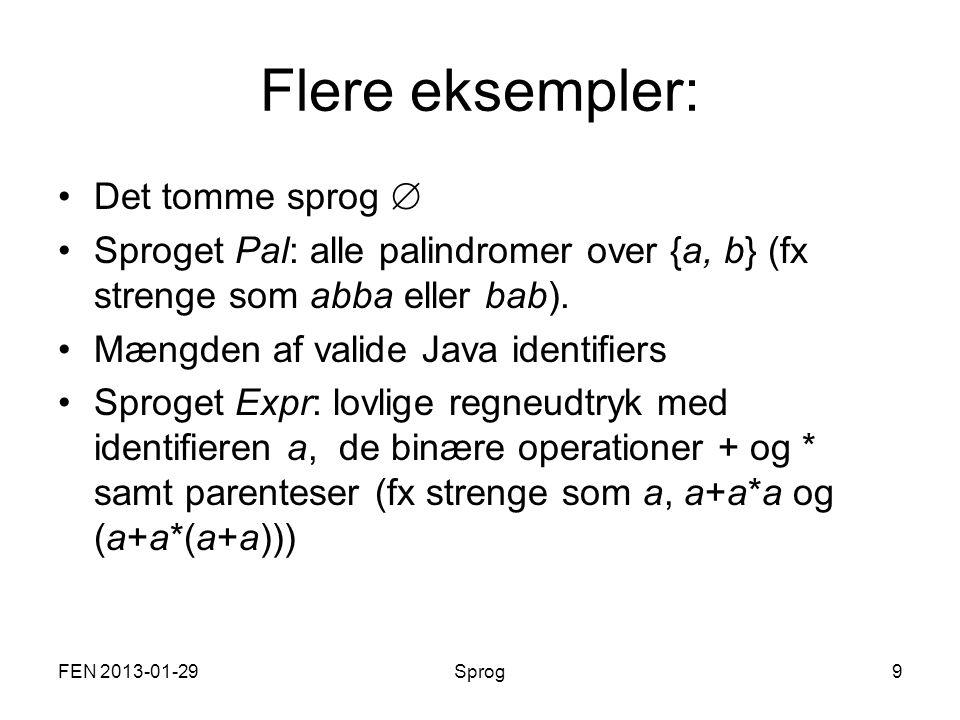 Flere eksempler: Det tomme sprog  Sproget Pal: alle palindromer over {a, b} (fx strenge som abba eller bab).