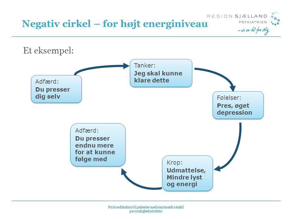 Negativ cirkel – for højt energiniveau Et eksempel: Adfærd: Du presser dig selv Adfærd: Du presser dig selv Tanker: Jeg skal kunne klare dette Tanker: