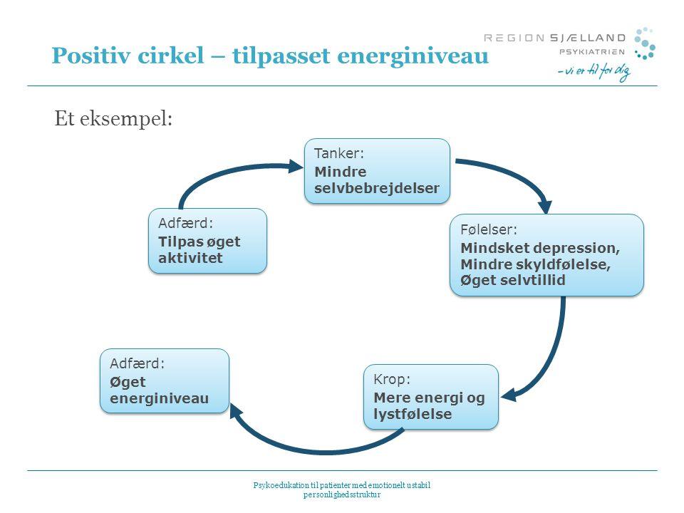 Positiv cirkel – tilpasset energiniveau Et eksempel: Adfærd: Tilpas øget aktivitet Adfærd: Tilpas øget aktivitet Tanker: Mindre selvbebrejdelser Tanke