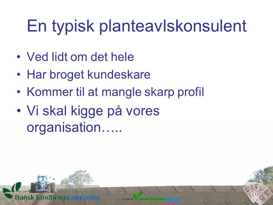 En typisk planteavlskonsulent Ved lidt om det hele Har broget kundeskare Kommer til at mangle skarp profil Vi skal kigge på vores organisation…..