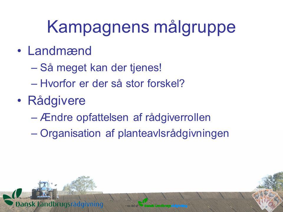 Kampagnens målgruppe Landmænd –Så meget kan der tjenes.