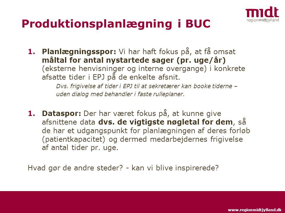 www.regionmidtjylland.dk Produktionsplanlægning i BUC 1.Planlægningsspor: Vi har haft fokus på, at få omsat måltal for antal nystartede sager (pr.