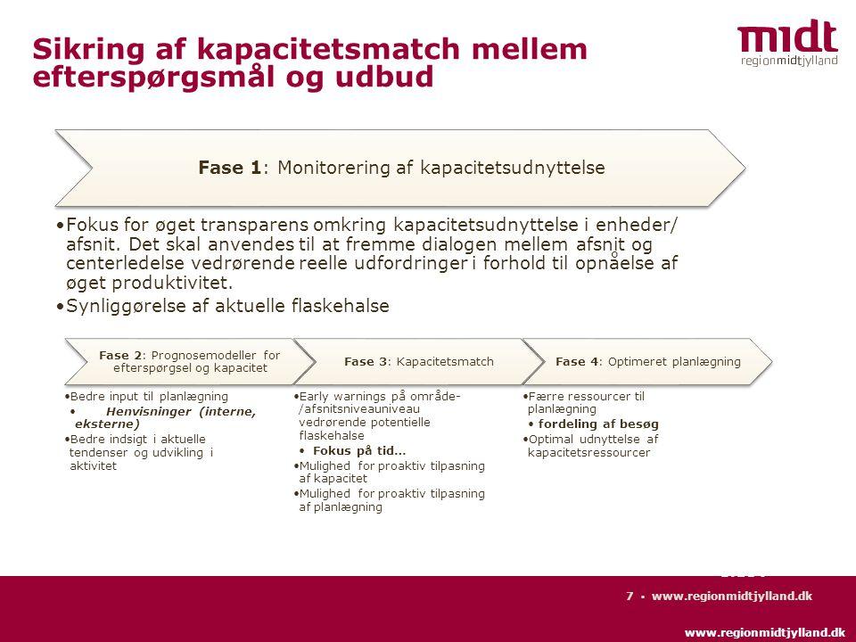 www.regionmidtjylland.dk 7 ▪ www.regionmidtjylland.dk Side 7 Sikring af kapacitetsmatch mellem efterspørgsmål og udbud Fase 2: Prognosemodeller for efterspørgsel og kapacitet Bedre input til planlægning Henvisninger (interne, eksterne) Bedre indsigt i aktuelle tendenser og udvikling i aktivitet Fase 3: Kapacitetsmatch Early warnings på område- /afsnitsniveauniveau vedrørende potentielle flaskehalse Fokus på tid… Mulighed for proaktiv tilpasning af kapacitet Mulighed for proaktiv tilpasning af planlægning Fase 4: Optimeret planlægning Færre ressourcer til planlægning fordeling af besøg Optimal udnyttelse af kapacitetsressourcer Fase 1: Monitorering af kapacitetsudnyttelse Fokus for øget transparens omkring kapacitetsudnyttelse i enheder/ afsnit.