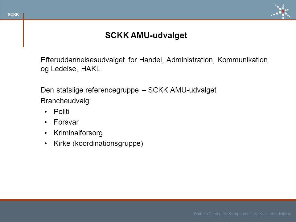 Statens Center for Kompetence- og Kvalitetsudvikling SCKK SCKK AMU-udvalget Efteruddannelsesudvalget for Handel, Administration, Kommunikation og Ledelse, HAKL.