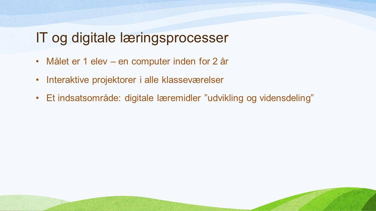 IT og digitale læringsprocesser Målet er 1 elev – en computer inden for 2 år Interaktive projektorer i alle klasseværelser Et indsatsområde: digitale læremidler udvikling og vidensdeling
