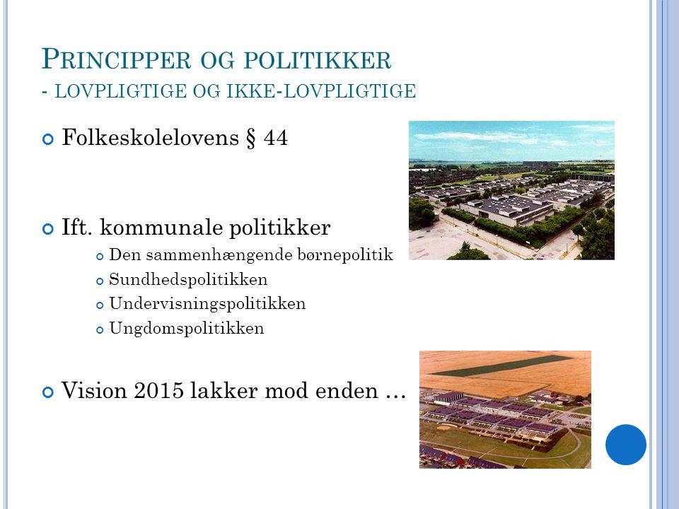 P RINCIPPER OG POLITIKKER - LOVPLIGTIGE OG IKKE - LOVPLIGTIGE Folkeskolelovens § 44 Ift.