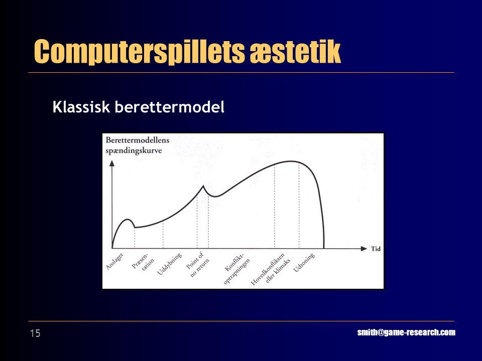 15 Computerspillets æstetik smith@game-research.com Klassisk berettermodel