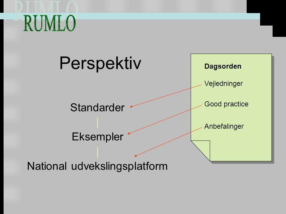 Perspektiv Standarder | Eksempler | National udvekslingsplatform Vejledninger Anbefalinger Good practice Dagsorden