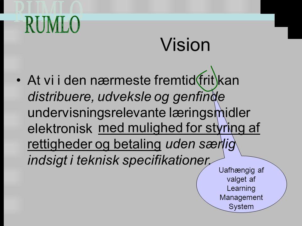 Uafhængig af valget af Learning Management System Vision At vi i den nærmeste fremtid frit kan distribuere, udveksle og genfinde undervisningsrelevante læringsmidler elektronisk med mulighed for styring af rettigheder og betaling uden særlig indsigt i teknisk specifikationer.