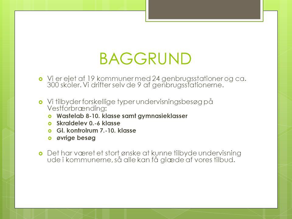 BAGGRUND  Vi er ejet af 19 kommuner med 24 genbrugsstationer og ca.