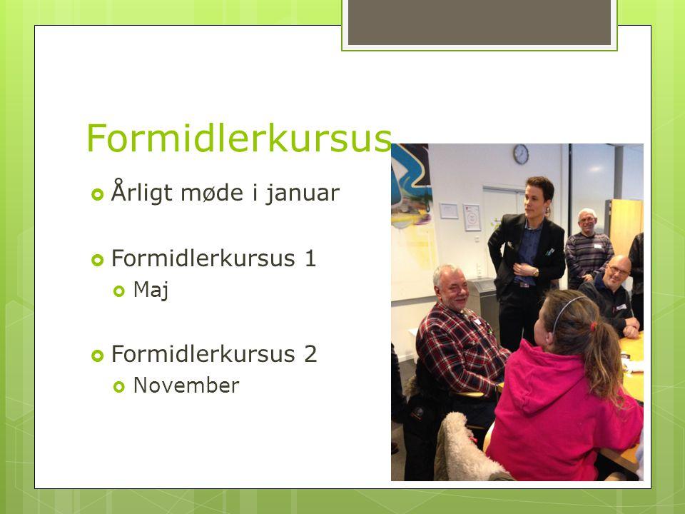 Formidlerkursus  Årligt møde i januar  Formidlerkursus 1  Maj  Formidlerkursus 2  November