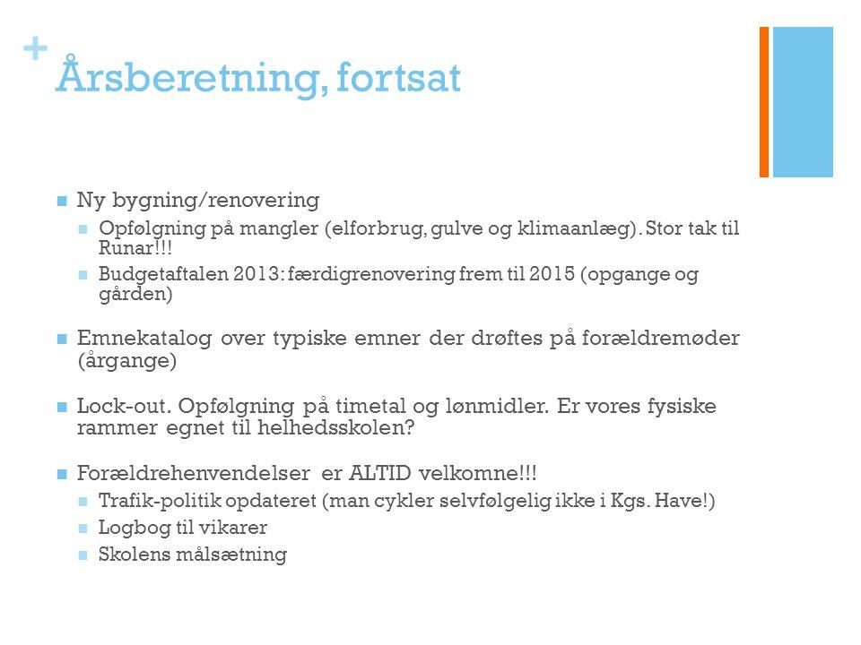 + Årsberetning, fortsat Ny bygning/renovering Opfølgning på mangler (elforbrug, gulve og klimaanlæg).
