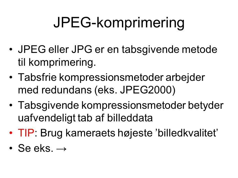 JPEG-komprimering JPEG eller JPG er en tabsgivende metode til komprimering.