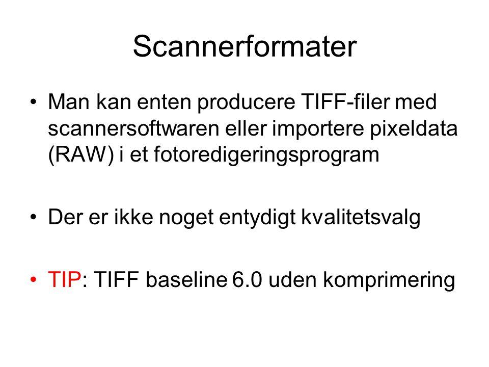 Scannerformater Man kan enten producere TIFF-filer med scannersoftwaren eller importere pixeldata (RAW) i et fotoredigeringsprogram Der er ikke noget entydigt kvalitetsvalg TIP: TIFF baseline 6.0 uden komprimering