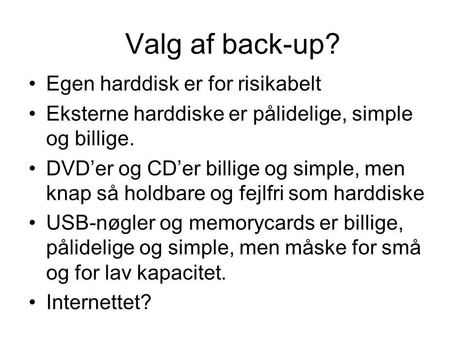 Valg af back-up.