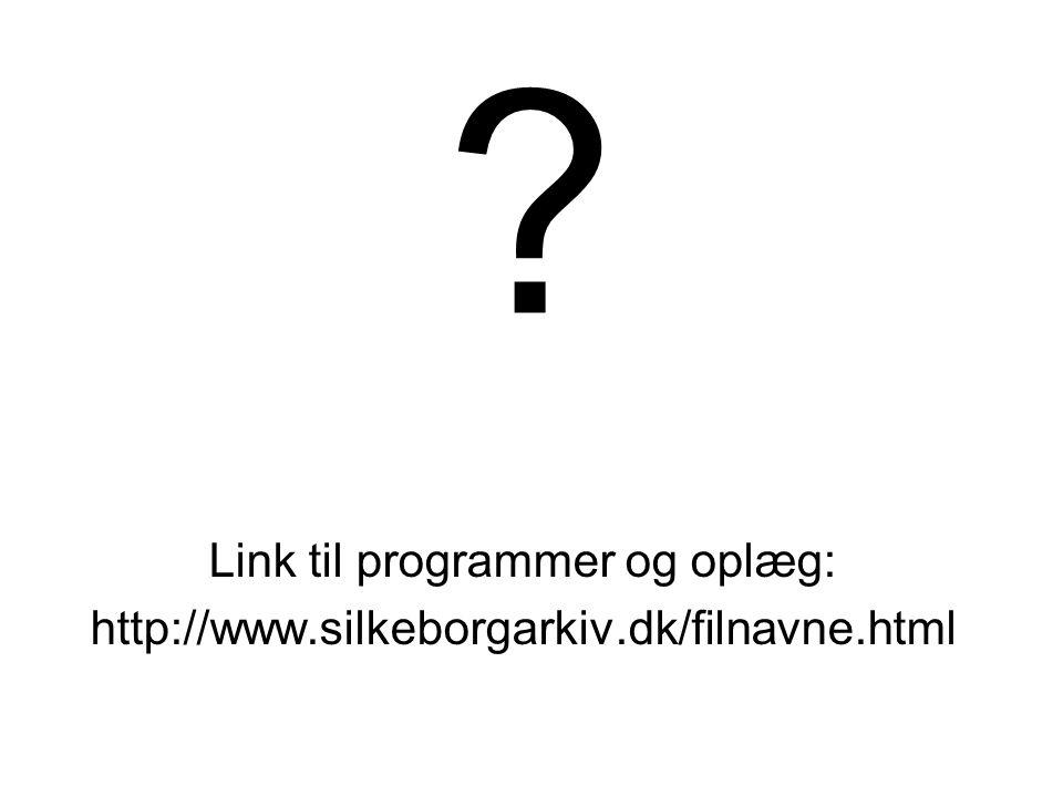 Link til programmer og oplæg: http://www.silkeborgarkiv.dk/filnavne.html