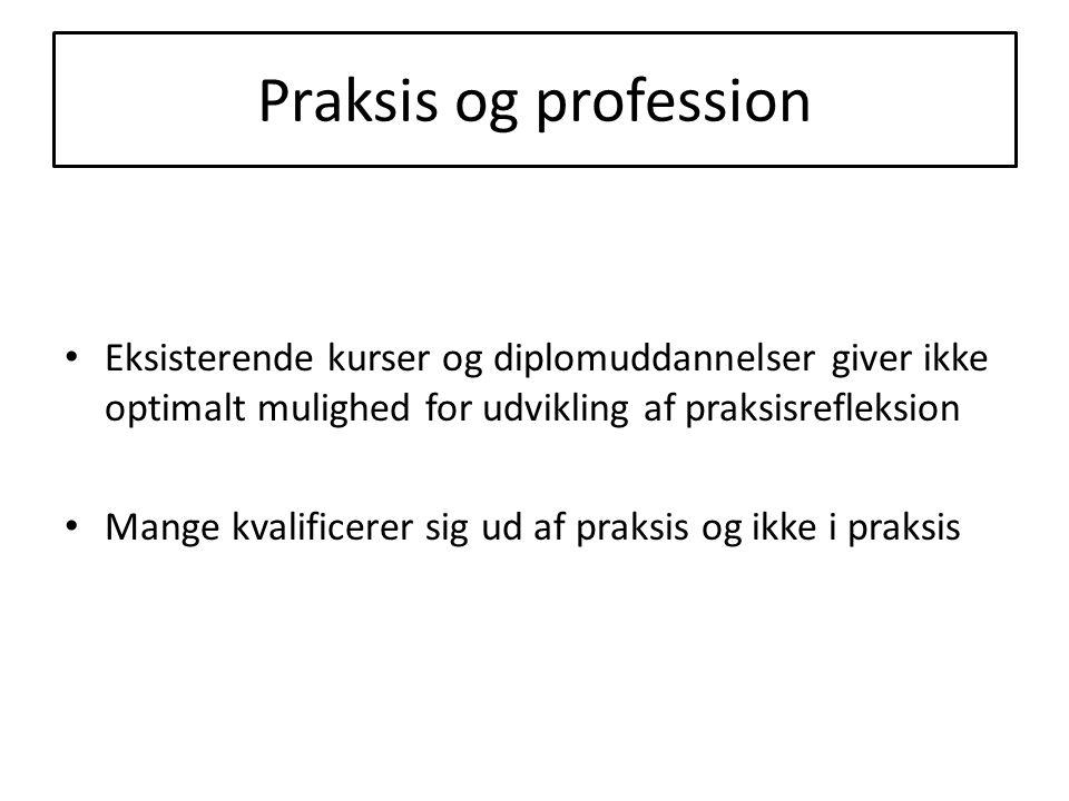 Praksis og profession Eksisterende kurser og diplomuddannelser giver ikke optimalt mulighed for udvikling af praksisrefleksion Mange kvalificerer sig ud af praksis og ikke i praksis