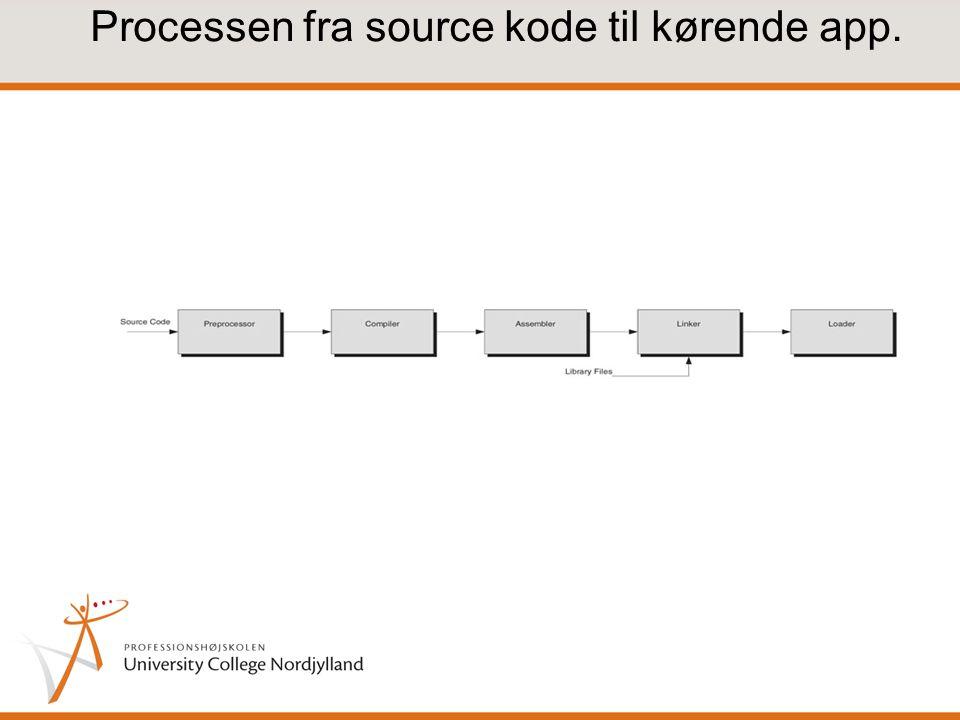 Processen fra source kode til kørende app.