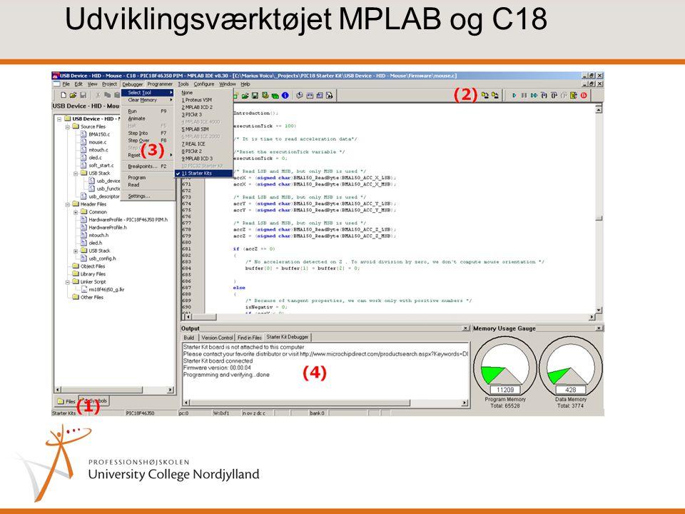 Udviklingsværktøjet MPLAB og C18
