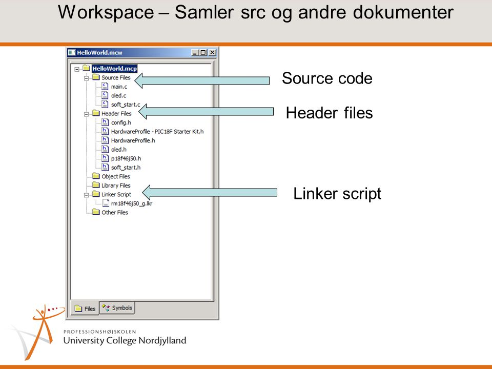 Workspace – Samler src og andre dokumenter Source code Header files Linker script