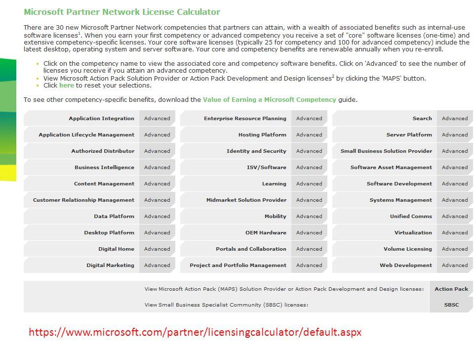 appendix https://www.microsoft.com/partner/licensingcalculator/default.aspx