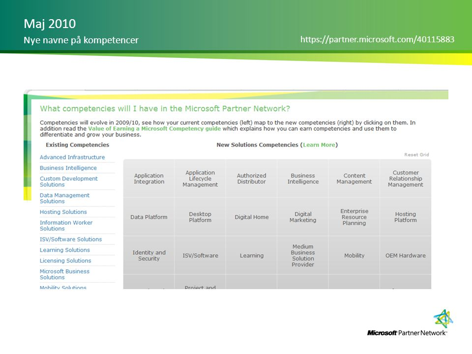 Maj 2010 Nye navne på kompetencer https://partner.microsoft.com/40115883