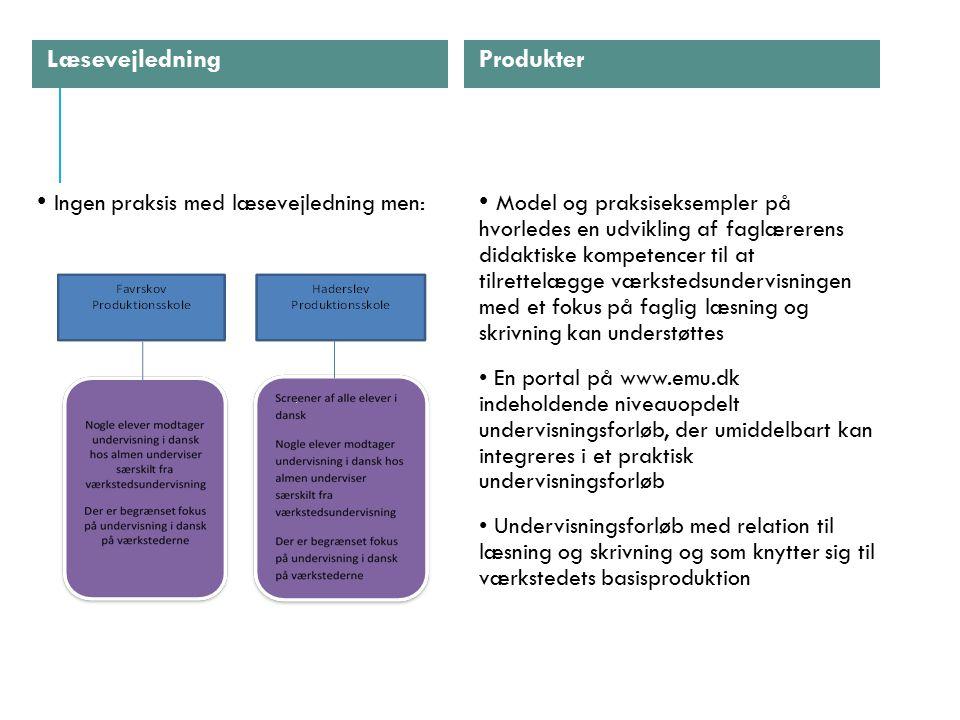 Produkter Læsevejledning Ingen praksis med læsevejledning men: Model og praksiseksempler på hvorledes en udvikling af faglærerens didaktiske kompetencer til at tilrettelægge værkstedsundervisningen med et fokus på faglig læsning og skrivning kan understøttes En portal på www.emu.dk indeholdende niveauopdelt undervisningsforløb, der umiddelbart kan integreres i et praktisk undervisningsforløb Undervisningsforløb med relation til læsning og skrivning og som knytter sig til værkstedets basisproduktion