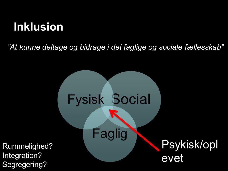 Inklusion Social Fysisk Faglig At kunne deltage og bidrage i det faglige og sociale fællesskab Psykisk/opl evet Rummelighed.
