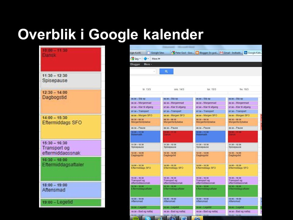 Overblik i Google kalender