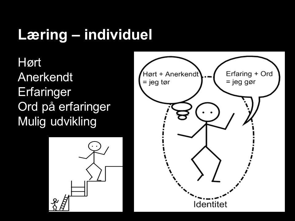 Læring – individuel Hørt Anerkendt Erfaringer Ord på erfaringer Mulig udvikling