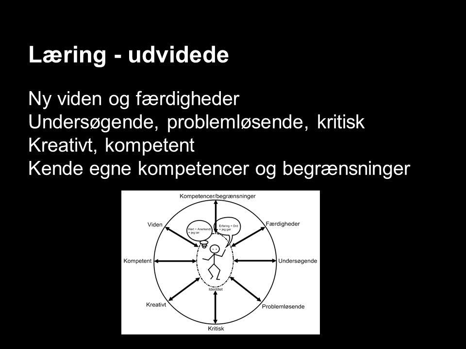 Læring - udvidede Ny viden og færdigheder Undersøgende, problemløsende, kritisk Kreativt, kompetent Kende egne kompetencer og begrænsninger
