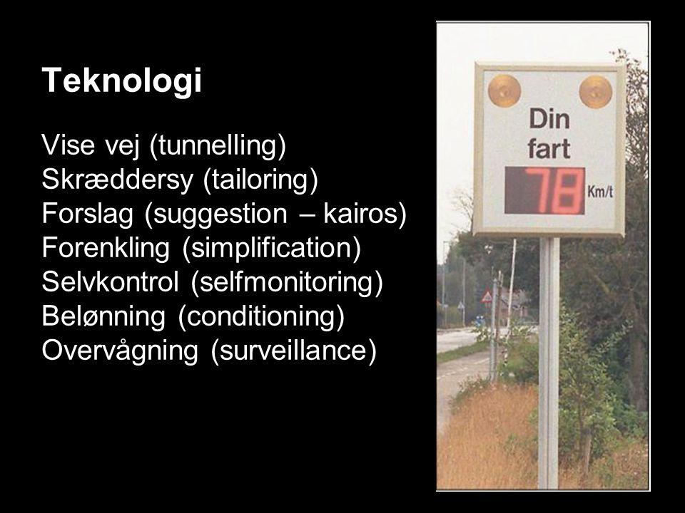 Teknologi Vise vej (tunnelling) Skræddersy (tailoring) Forslag (suggestion – kairos) Forenkling (simplification) Selvkontrol (selfmonitoring) Belønning (conditioning) Overvågning (surveillance)