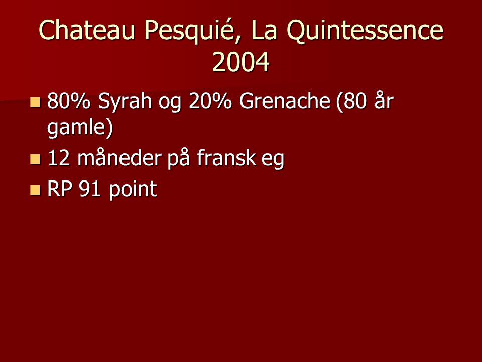 Chateau Pesquié, La Quintessence 2004 80% Syrah og 20% Grenache (80 år gamle) 80% Syrah og 20% Grenache (80 år gamle) 12 måneder på fransk eg 12 måneder på fransk eg RP 91 point RP 91 point