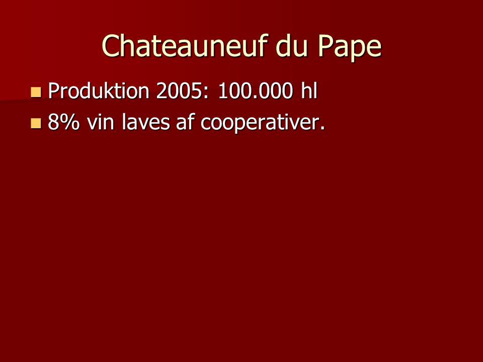 Chateauneuf du Pape Produktion 2005: 100.000 hl Produktion 2005: 100.000 hl 8% vin laves af cooperativer.