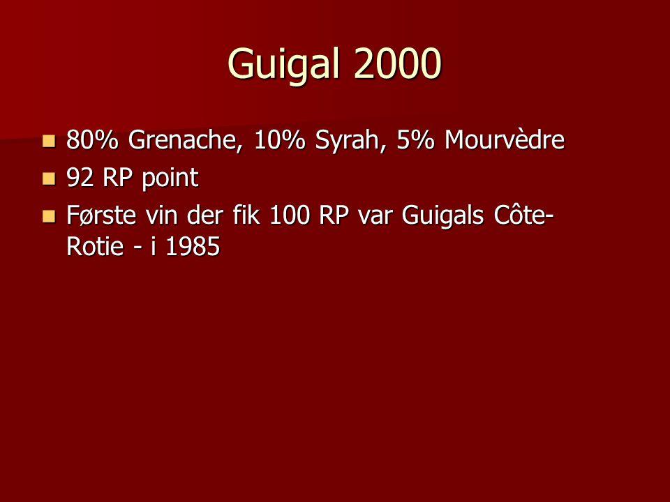 Guigal 2000 80% Grenache, 10% Syrah, 5% Mourvèdre 80% Grenache, 10% Syrah, 5% Mourvèdre 92 RP point 92 RP point Første vin der fik 100 RP var Guigals Côte- Rotie - i 1985 Første vin der fik 100 RP var Guigals Côte- Rotie - i 1985