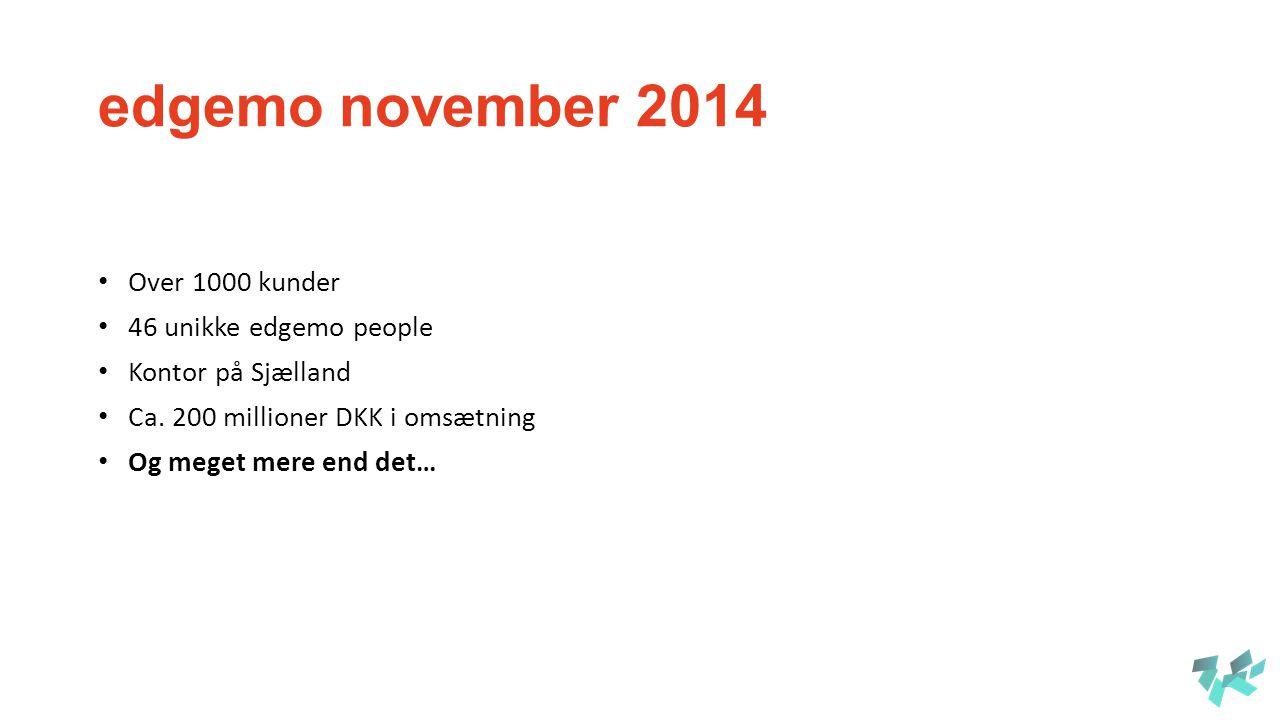 edgemo november 2014 Over 1000 kunder 46 unikke edgemo people Kontor på Sjælland Ca.