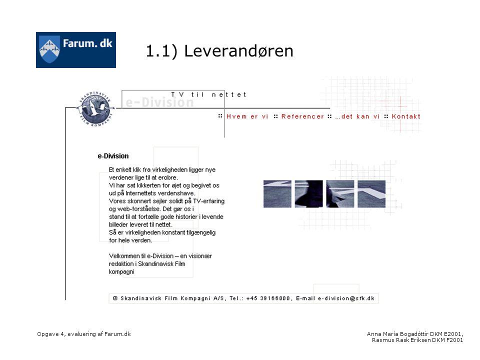 Anna María Bogadóttir DKM E2001, Rasmus Rask Eriksen DKM F2001 Opgave 4, evaluering af Farum.dk 1.1) Leverandøren