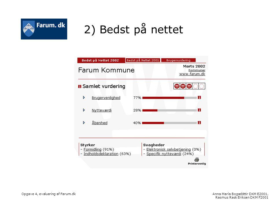 Anna María Bogadóttir DKM E2001, Rasmus Rask Eriksen DKM F2001 Opgave 4, evaluering af Farum.dk 2) Bedst på nettet