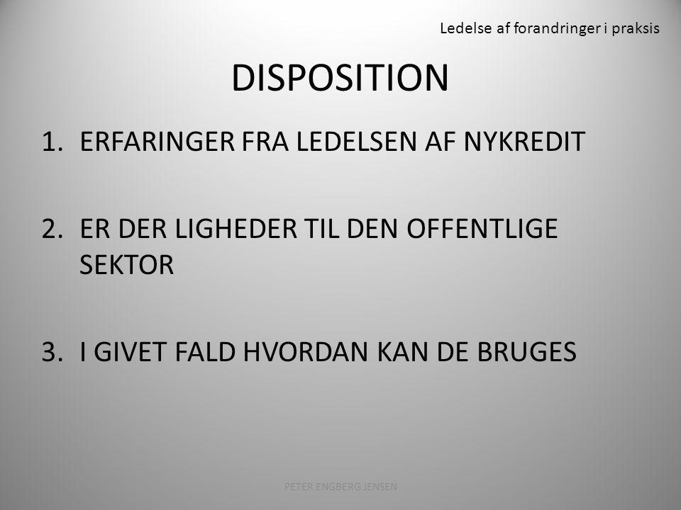 Ledelse af forandringer i praksis DISPOSITION 1.ERFARINGER FRA LEDELSEN AF NYKREDIT 2.ER DER LIGHEDER TIL DEN OFFENTLIGE SEKTOR 3.I GIVET FALD HVORDAN KAN DE BRUGES PETER ENGBERG JENSEN11