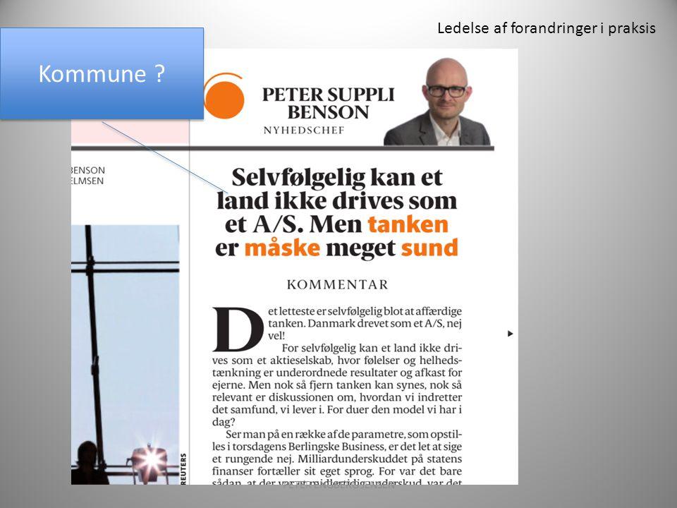 Ledelse af forandringer i praksis PETER ENGBERG JENSEN12 Kommune