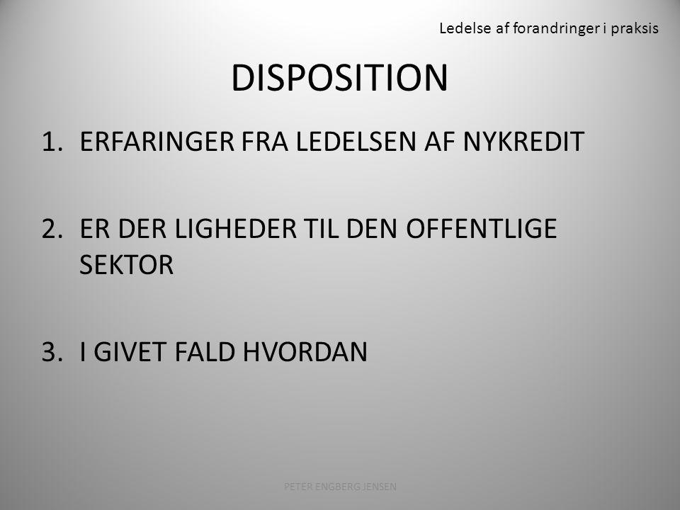 Ledelse af forandringer i praksis DISPOSITION 1.ERFARINGER FRA LEDELSEN AF NYKREDIT 2.ER DER LIGHEDER TIL DEN OFFENTLIGE SEKTOR 3.I GIVET FALD HVORDAN PETER ENGBERG JENSEN2