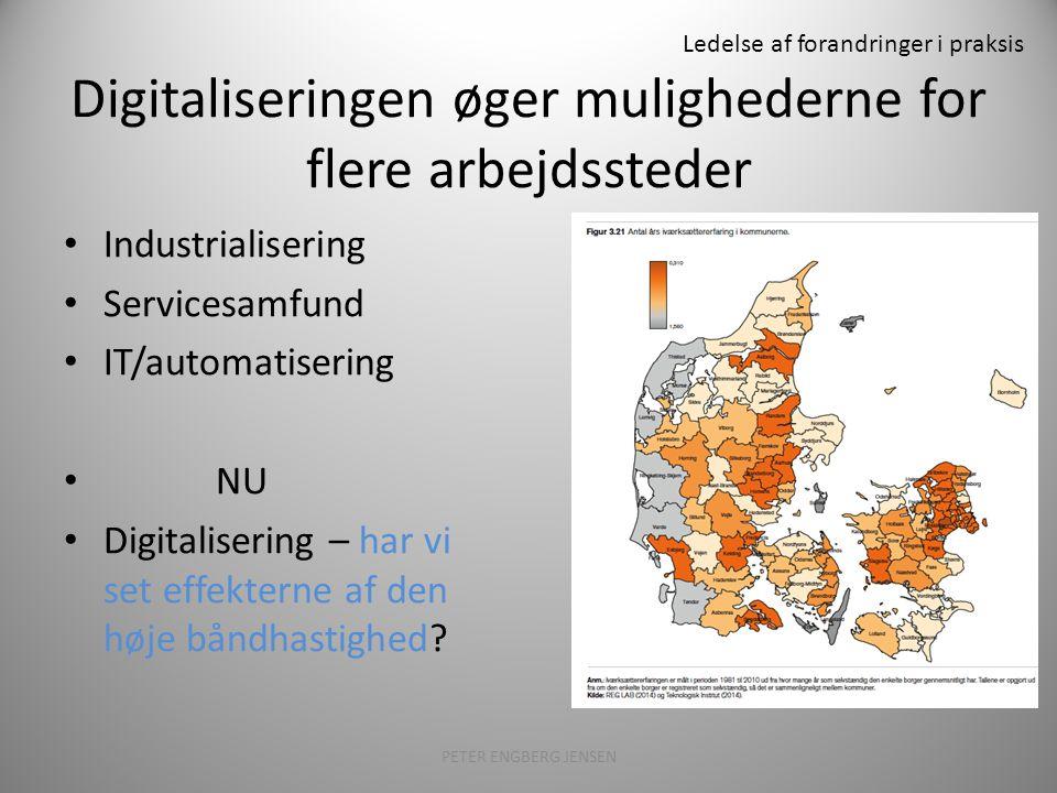 Ledelse af forandringer i praksis Digitaliseringen øger mulighederne for flere arbejdssteder PETER ENGBERG JENSEN26 Industrialisering Servicesamfund IT/automatisering NU Digitalisering – har vi set effekterne af den høje båndhastighed