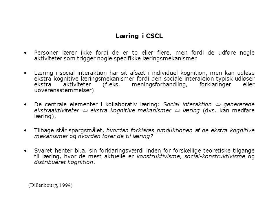 Læring i CSCL Personer lærer ikke fordi de er to eller flere, men fordi de udføre nogle aktiviteter som trigger nogle specifikke læringsmekanismer Læring i social interaktion har sit afsæt i individuel kognition, men kan udløse ekstra kognitive læringsmekanismer fordi den sociale interaktion typisk udløser ekstra aktiviteter (f.eks.